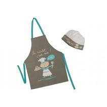 keukenschort met koksmuts le cuistot bruin/blauw