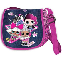 schoudertasje meisjes 22 x 17 cm roze/jeansblauw