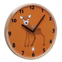 wandklok Baby Deer 25 x 3 cm hout oranje/blank