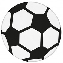 vloerkleed voetbal 75 cm wit/zwart