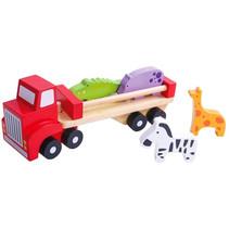 vrachtwagen met dierenfiguren 26,5 cm hout rood 6-delig