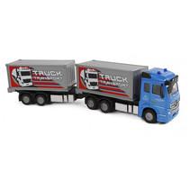 vrachtwagen met aanhanger pull-back 29 cm blauw/grijs