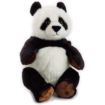 knuffel panda junior 22 cm pluche zwart/wit
