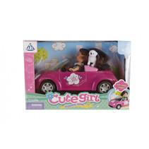 pop met auto meisjes 21 cm roze 3-delig