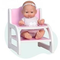 babypop Mini Baby met houten kinderstoel 28 cm roze
