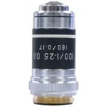 objectief DIN 100x Oill microscoop 4,5 cm staal zilver
