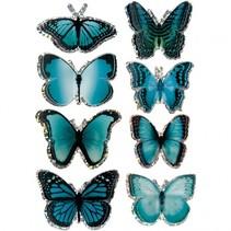3D stickers vlinders blauw 8 stuks