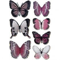 3D stickers vlinders paars/roze 7 stuks