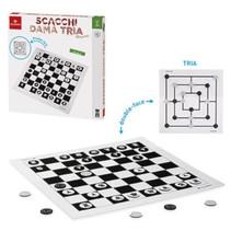 schaak- en dambord 37 cm hout/staal wit/zwart 2-delig
