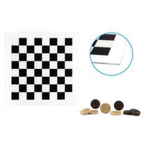 dambord met damstenen 29 x 29 cm glas zwart/wit