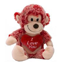 knuffelaap I Love You junior 15 cm pluche rood