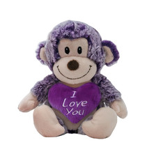 knuffelaap I Love You junior 15 cm pluche paars