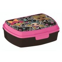 lunchbox meisjes 17 x 13 x 6 cm zwart/roze