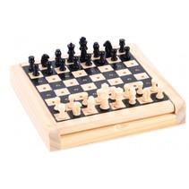 zakformaat schaakspel 12 x 12 cm zwart/wit