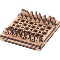 modelbouwset Schaken 21,6 x 7,5 cm hout 30-delig