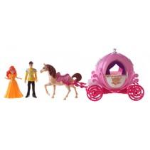 magische roze koets met prins en prinses