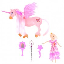 speelset eenhoorn met prinses 18 cm roze