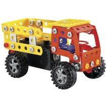 bouwpakket vrachtwagen 122-delig rood/geel