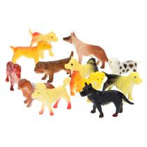 speelfiguren honden junior rubber geel/bruin 12 stuks
