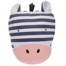 knuffelkussen zebra 39 x25 cm wit/zwart/roze