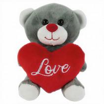 knuffelbeer met hart 12 cm grijs/rood