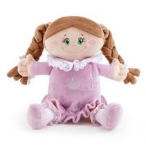 stoffen pop met violet jurkje 25 cm