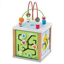 activiteiten-kubus junior 20 x 33 cm hout geel/groen