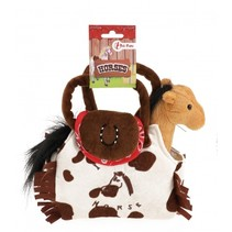 pony in tas 20 cm bruin/wit