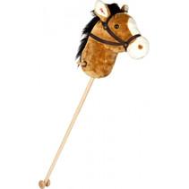 stokpaard met geluid 105 cm hout/pluche bruin/wit