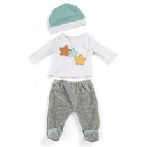poppenkleding pyjama wit/grijs 3-delig