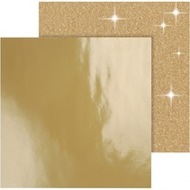 dubbelzijdig designpapier glitter/lak goud 30,5 cm 2 vellen