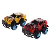 monstertrucks dino-print 6 cm 2 stuks geel/rood
