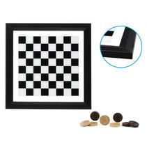 dambord met damstenen 34,5 x 34,5 cm glas zwart/wit