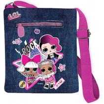 schoudertasje meisjes 25 x 20 cm roze/jeansblauw