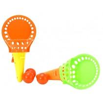 Vangbal spel met 3 ballen oranje/geel 18 cm