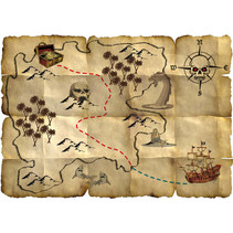 schatkaart Red Pirate 9,5 x 3 cm papier bruin 4 stuks