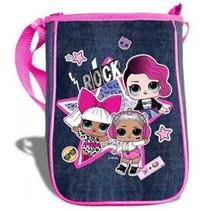schoudertasje meisjes 25 x 18 cm roze/jeansblauw