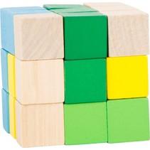 bouwkubus blauw/groen/geel/blank 4,5 cm