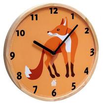 wandklok Fox 25 x 3 cm hout oranje/blank
