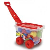 trolley met ballen Happy Balls 32 cm rood 25-delig