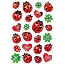 stickers lieveheersbeestjes 48 stuks rood/groen