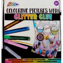 kleurset Glitter Glue junior papier/lijm 6-delig