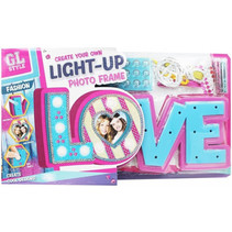 knutselset Fotolijst met licht meisjes roze/blauw 3-delig