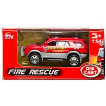 brandweervoertuig jeep 7,5 cm staal rood