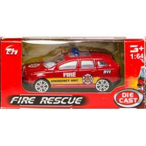 brandweervoertuig auto 7,5 cm staal rood