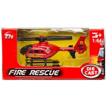 brandweervoertuig helikopter 7,5 cm staal rood