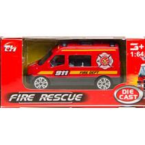 brandweervoertuig bus 7,5 cm staal rood