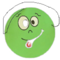 masker emoties junior 17 cm papier groen