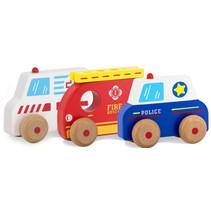 speelset Hulpvoertuigen junior 11,6 x 5 cm hout 4-delig