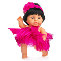 babypop 22 cm meisjes vinyl/textiel zwart/fuchsia